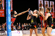 Magic goal attack Monica Falkner lines up a shoot at goal during the ANZ Premiership netball match - Magic v Tactix played at Claudelands Arena, Hamilton, New Zealand on 30 July 2018.<br /> <br /> Copyright photo: © Bruce Lim / www.photosport.nz