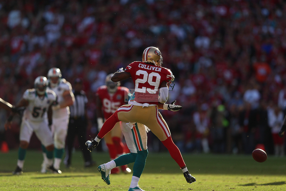 San Francisco 49ers defensive back Chris Culliver (29) in action against the Miami Dolphins during an NFL game at Candlestick Park on December 9, 2012 in San Francisco, CA.  (Photo by Jed Jacobsohn)