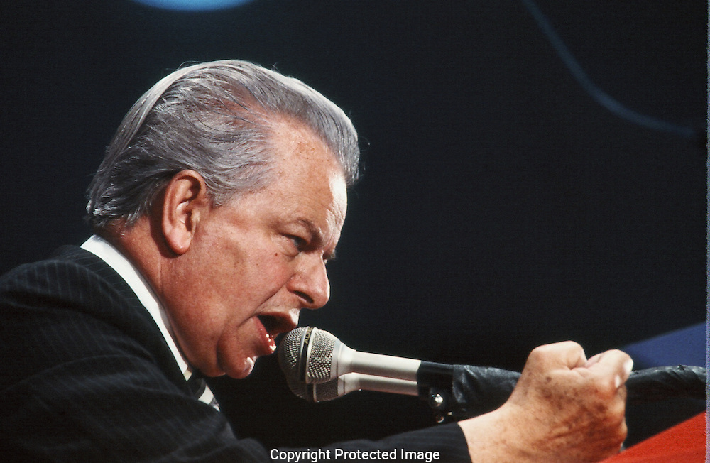 Senator Robert Byrd  speaks at the Democratic Mid Term Convention in June 1982..Photograph by Dennis Brack bb 19