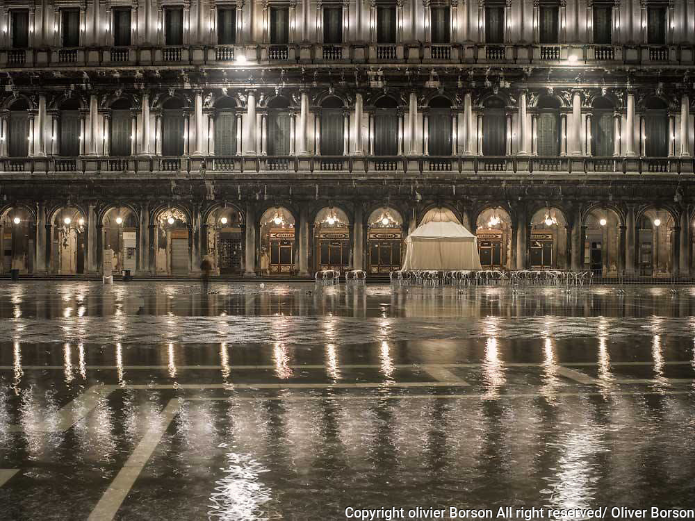 San Marco Square view by night during high Water - alta aqua