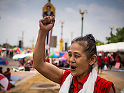 06 APRIL 2014 - BANGKOK, THAILAND: A Red Shirt supporter cheers for speakers supporting the government during a Red Shirt rally Sunday. Red Shirts and supporters of the government of Yingluck Shinawatra, the Prime Minister of Thailand, gathered in a suburb of Bangkok this weekend to show support for the government. The Thai government is dealing with ongoing protests led by anti-government activists. Legal challenges filed by critics of the government could bring the government down as soon as the end of April. The Red Shirt rally this weekend was to show support for the government, which public opinion polls show still has the support of most of the electorate.   PHOTO BY JACK KURTZ