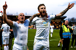 David Pipe of Newport County and Mark O'Brien of Newport County celebrate their victory over Mansfield Town to send them to the play-off final - Mandatory by-line: Ryan Crockett/JMP - 12/05/2019 - FOOTBALL - One Call Stadium - Mansfield, England - Mansfield Town v Newport County - Sky Bet League Two Play-Off Semi-Final 2nd Leg