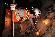 Mining engineering student, Hunter Huish, prepares holes for blasing powder, during training at the San Xavier Mining Laboratory Training Center, University of Arizona, Tucson, USA.