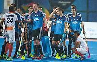 BHUBANESWAR -  Hockey World League finals , Semi Final . Argentina v India. Lucas Rossi (Arg) , Gonzalo Peillat (Arg), Matias Rey (Arg)  COPYRIGHT KOEN SUYK