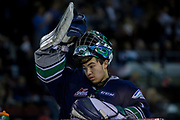 KELOWNA, CANADA - APRIL 26: Carl Stankowski #1 of the Seattle Thunderbirds  at the Kelowna Rockets game on April 26, 2017 at Prospera Place in Kelowna, British Columbia, Canada.  (Photo By Cindy Rogers/Nyasa Photography,  *** Local Caption ***