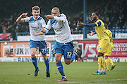 James Vaughan (Bury) celebrates with George Miller (Bury) having scored for Bury. 1-0 during the EFL Sky Bet League 1 match between Bury and Oxford United at the JD Stadium, Bury, England on 17 December 2016. Photo by Mark P Doherty.
