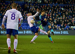 BIRKENHEAD, ENGLAND - Friday, January 4, 2019: Tranmere Rovers' Steve McNulty (L) and Tottenham Hotspur's Fernando Llorente during the FA Cup 3rd Round match between Tranmere Rovers FC and Tottenham Hotspur FC at Prenton Park. (Pic by David Rawcliffe/Propaganda)