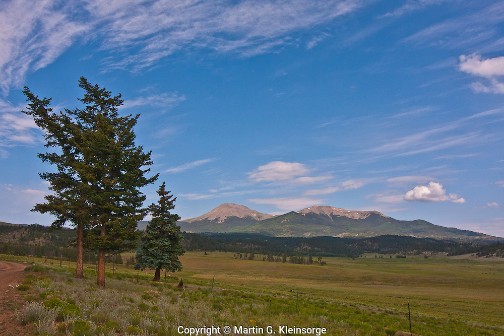 The high rolling plains of the South Park area below the Buffalo Peaks of the Mosquito Range, Colorado.
