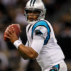January 1, 2012; New Orleans, LA, USA; Carolina Panthers quarterback Cam Newton (1) against the New Orleans Saints during the second quarter of a game at the Mercedes-Benz Superdome. Mandatory Credit: Derick E. Hingle-US PRESSWIRE