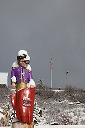 """El Matador in Truckee"" - This snow covered matador with ski goggles was photographed in Downtown Truckee, CA."