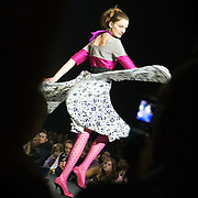Top Russian model Katerina Smutok, 18, shows of the clothes by Moscow-based Teplitskaya Design at the Fashion Week in Moscow. ..Photograph by Justin Jin