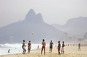 Futeball, or soccer, is the sport of choice at Ipanema Beach, Rio de Janiero, Brazil.