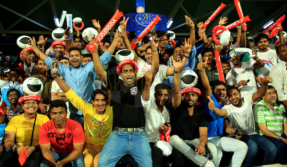 Fans Enjoys during match 9 of the Pepsi Indian Premier League 2014 between the The Kings XI Punjab and the Sunrisers Hyderabad held at the Sharjah Cricket Stadium, Sharjah, United Arab Emirates on the 22nd April 2014<br /> <br /> Photo by Sandeep Shetty / IPL / SPORTZPICS