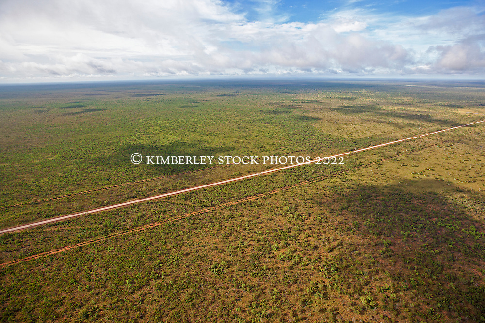 The Broome to Derby highway cuts a straight line through the landscape