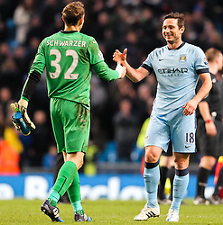 Manchester City's Frank Lampard shakes hands with former team mate at Chelsea, Mark Schwarzer of Leicester City - Photo mandatory by-line: Matt McNulty/JMP - Mobile: 07966 386802 - 04/03/2015 - SPORT - football - Manchester - Etihad Stadium - Manchester City v Leicester City - Barclays Premier League