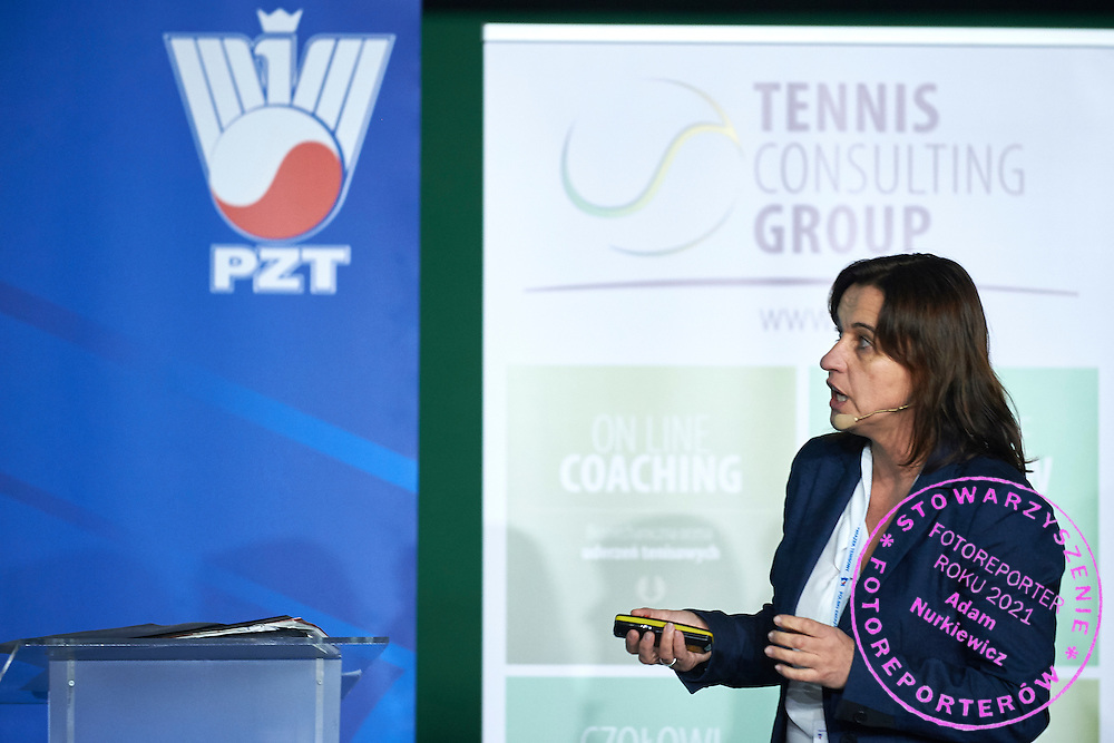 Prof Ewa Ziemann speaks during PZT - Trainer's Conference of Polish Tennis Association at Mera Hall in Warsaw, Poland.<br /> <br /> Poland, Warsaw, November 29, 2015<br /> <br /> Picture also available in RAW (NEF) or TIFF format on special request.<br /> <br /> Any editorial, commercial or promotional use requires permission.<br /> <br /> Adam Nurkiewicz declares that he has no rights to the image of people at the photographs of his authorship.<br /> <br /> Mandatory credit:<br /> Photo by &copy; Adam Nurkiewicz / Mediasport