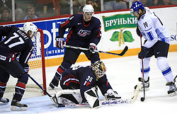 Mikko Luoma of Finland scored the last gold goal vs goalkeeper of USA Robert Esche at play-off round quarterfinals ice-hockey game USA  vs Finland at IIHF WC 2008 in Halifax,  on May 14, 2008 in Metro Center, Halifax, Nova Scotia,Canada. Win of Finland 3 : 2. (Photo by Vid Ponikvar / Sportal Images)