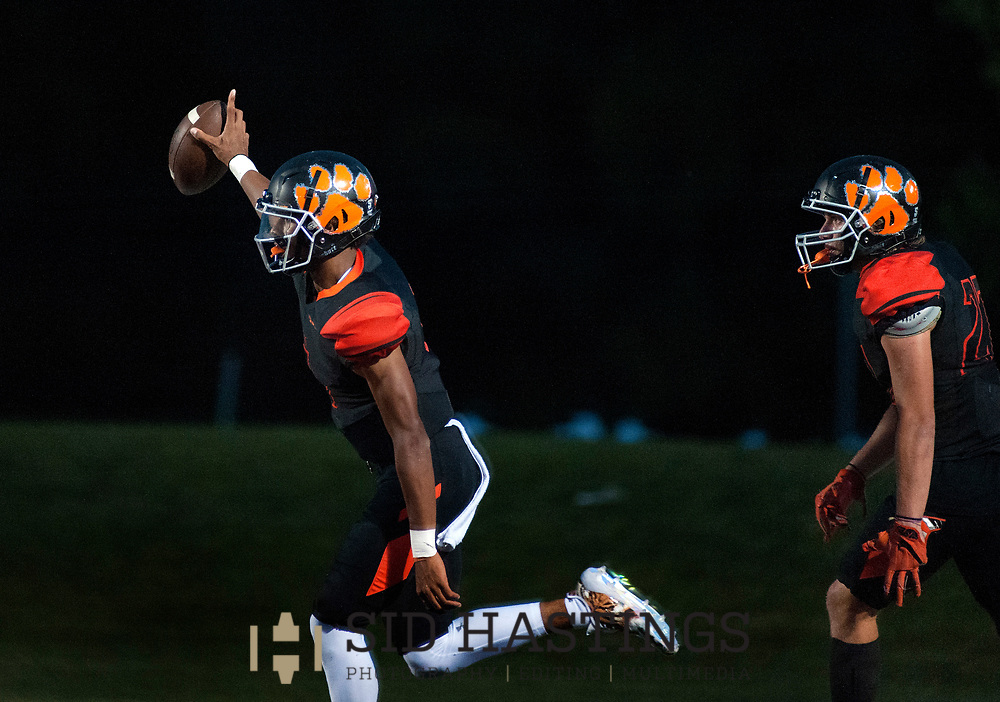 1 SEPT. 2017 -- EDWARDSVILLE, Ill. -- Edwardsville High School quarterback Kendall Abdur-Rahman (4) celebrates with teammate Zac Ballossini (27) after scoring a touchdown against CBC High School during the football game between the schools Friday, Sept. 1, 2017 in Edwardsville. Photo © copyright 2017 Sid Hastings.