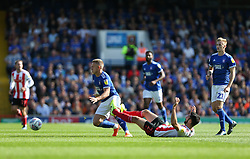 Conor McLaughlin of Sunderland fall under a challenge from Danny Rowe of Ipswich Town - Mandatory by-line: Arron Gent/JMP - 10/08/2019 - FOOTBALL - Portman Road - Ipswich, England - Ipswich Town v Sunderland - Sky Bet League One