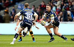 Mark Jennings of Sale Sharks passes the ball - Mandatory by-line: Robbie Stephenson/JMP - 19/02/2017 - RUGBY - AJ Bell Stadium - Sale, England - Sale Sharks v Wasps - Aviva Premiership