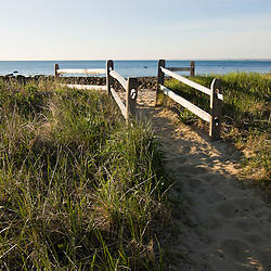 The path to the beach at the Center Hill Preserve in Plymouth, Massachusetts.  Cape Cod Bay.