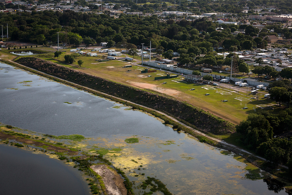 The Skyway Trap and Skeet Club abuts the Sawgrass Lake Park on April 12, 2016 in St. Petersburg, Fla. In 2004, the Southwest Florida Water Management District spent $25 million in taxpayer money to remediate toxic lead from the wetland and build a berm to stop further contamination. After a decade-long legal battle between the District and the gun range, a lawsuit was dropped in February after NRA lobbyist Marion Hammer called for the agency's dissolution. (David Albers for The Trace)