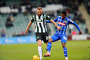 Plymouth Argyle's Jordon Forster and Notts County's Jason Banton during the Sky Bet League 2 match between Plymouth Argyle and Notts County at Home Park, Plymouth, England on 27 February 2016. Photo by Graham Hunt.