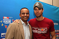 Sundar Raman and Enrique Iglesias during the Airtel CLT29 Press Conference with Enrique Iglesias held at the Sandton Sun Hotel in Johannesburg on the 9 September 2010 as part of the build up to the Champions League T20 tournament being held in South Africa between the 10th and 26th September 2010..Photo by: Ron Gaunt/SPORTZPICS/CLT20