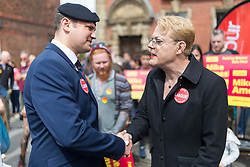 © Licensed to London News Pictures. 1/6/2017 FRODSHAM , CHESHIRE  , UK.  <br /> <br /> Stand-up comedian and actor Eddie Izzard joins Labour Party candidates on the campaign trail today (Thursday 1st June 2017) Pictured on Frodsham Main Street, Frodsham, Cheshire to support Mike Amesbury. Recent polls have shown a narrowing in the gap between Labour and the Conservatives in the run up to the 2017 General Election. Pictured speaking with David Andrew Gannon <br /> , former royal engineer and Afghan veteran. <br /> <br /> Photo credit: CHRIS BULL/LNP