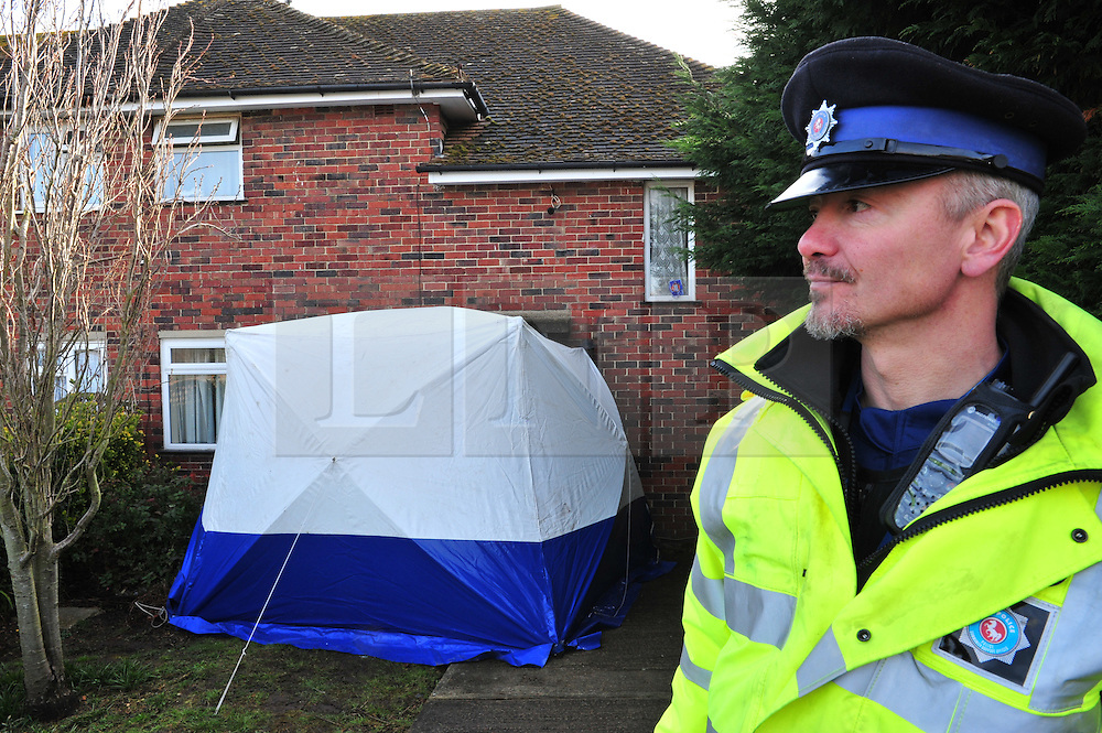 © Licensed to London News Pictures. 30/03/2016<br /> Two people have been killed at a property in Dickens Avenue,Canterbury,Kent. Officers said they found two people with fatal injuries and two other people injured .<br /> Police have arrested a man at the property.<br /> <br /> <br /> <br />  (Byline:Grant Falvey/LNP)