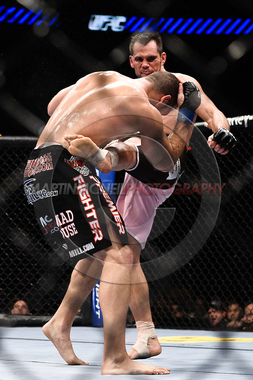 "ATLANTA, GEORGIA, SEPTEMBER 6, 2008: Rick Franklin (facing) lands a kick to the liver of Matt Hamill during ""UFC 88: Breakthrough"" inside Philips Arena in Atlanta, Georgia on September 6, 2008"