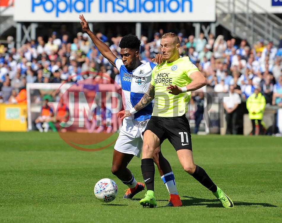 Ellis Harrison of Bristol Rovers challenges Marcus Maddison of Peterborough United - Mandatory by-line: Neil Brookman/JMP - 12/08/2017 - FOOTBALL - Memorial Stadium - Bristol, England - Bristol Rovers v Peterborough United - Sky Bet League One