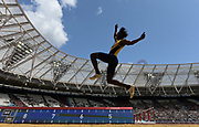 Jul 20, 2019; London, United Kingdom; Tajay Gayle (JAM) places second in the long jump at 27-7 3/4 (8.32m) during the London Anniversary Games at London Stadium at  Queen Elizabeth Olympic Park.