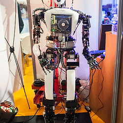 Lyon, France - 19 March 2014: ARIA robot by France Robotique is on display at Innorobo 2014, the biggest fair in Europe for robotics.