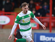 Yeovil Town striker Brandon Goodship celebrates his goal during the Sky Bet League 2 match between Dagenham and Redbridge and Yeovil Town at the London Borough of Barking and Dagenham Stadium, London, England on 27 February 2016. Photo by Bennett Dean.