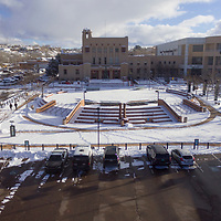 A snow covered Courthouse Plaza from above in Gallup on Friday.