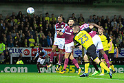 Aston Villa striker Keinan Davis (39) scores a goal to make the score 1-0 during the EFL Sky Bet Championship match between Burton Albion and Aston Villa at the Pirelli Stadium, Burton upon Trent, England on 26 September 2017. Photo by Richard Holmes.