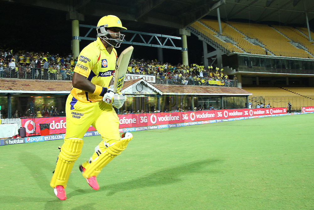 Dwayne Smith of the Chennai Superkings opens the batting for CSK during match 47 of the Pepsi IPL 2015 (Indian Premier League) between The Chennai Superkings and The Rajasthan Royals held at the M. A. Chidambaram Stadium, Chennai Stadium in Chennai, India on the 10th May 2015.<br /> <br /> Photo by:  Ron Gaunt / SPORTZPICS / IPL