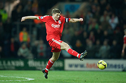 PRESTON, ENGLAND - Saturday, January 3, 2009: Liverpool's captain Steven Gerrard MBE in action against Preston North End during the FA Cup 3rd Round match at Deepdale. (Photo by David Rawcliffe/Propaganda)
