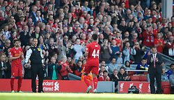 LIVERPOOL, ENGLAND - Sunday, May 19, 2013: Liverpool's Jordon Ibe is applauded by the crowd as he is substituted after making his debut for the Reds during the final Premiership match of the 2012/13 season against Queens Park Rangers at Anfield. (Pic by David Rawcliffe/Propaganda)