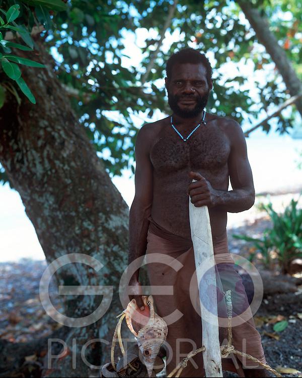 Robert, an elder member of the shark calling community of Kontu..Kontu, New Ireland Province, Papua New Guinea;