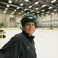 Sarah Hodges, Head coach (19th Season) of the Regina Cougars women's hockey team in action during the preseason Cougars Alumni Game on September 30 at Co-Operators Centre. Credit: Arthur Ward/Arthur Images