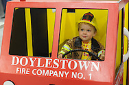 Ben Kube, 2.5 years old, of Doylestown, Pennsylvania drives a cardboard firetruck at the Doylestown Firehouse Open House Friday October 2, 2015 in Doylestown, Pennsylvania.  (Photo by William Thomas Cain)