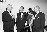 20/09/1967<br /> 09/20/1967<br /> 20 September 1967<br /> International SPAR dinner at the Shelbourne Hotel, Dublin. Picture shows (l-r): Mr Henri Holland, President, Spar International; Mr George Colley, Minister for Industry and Commerce; Mrs Mary Colley and Mr D.A. O'Connell, Chairman SPAR (Ireland) Limited, at the event.