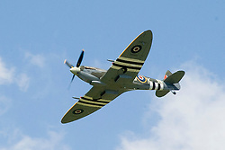 Yorkshire Wartime Experience Air Display by Mk IX Spitfire in Normandy Colours and the personal aircraft of Squadron Leader &lsquo;Johnny&rsquo; Plagis, the Commanding Officer of No 126 Squadron from July 1944. Plagis named all of his personal Spitfires after his sister &lsquo;Kay&rsquo; <br /> 04 July 2015<br />  Image &copy; Paul David Drabble <br />  www.pauldaviddrabble.co.uk