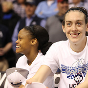 Breanna Stewart, (right) and Moriah Jefferson, UConn, after their sides victory during the UConn Huskies Vs USF Bulls Basketball Final game at the American Athletic Conference Women's College Basketball Championships 2015 at Mohegan Sun Arena, Uncasville, Connecticut, USA. 9th March 2015. Photo Tim Clayton