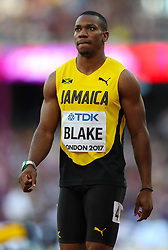 London, 2017-August-05. Yohan Blake of the USA ahead of his men's 100m semi-final at the IAAF World Championships London 2017. Paul Davey.