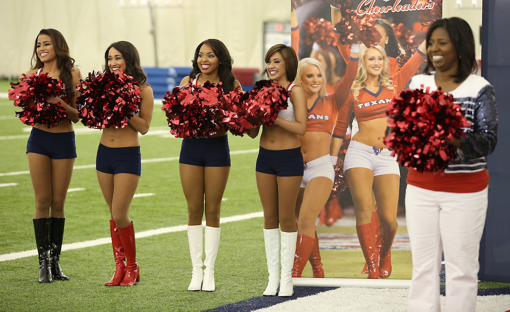 4/16/2014: Newly announced cheerleaders and Houston Texans Cheerleader Director Alto Gray smile as another name is called. Fifty girls showed up on April 16, 2014 at the Houston Texans practice facility in Houston, Texas to see which 35 girls made the 2014-2015, Houston Texans Cheerleading Team.