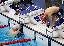 Irish McDonald (L) prepares to start alongside GBR Whorwood at the final of Men's 400m freestyle S6 at the Paralympics, McDonald went on to win gold and Whorwood won bronze, Saturday September 1, 2012, Photo Andre Camara/i-Images..This Image can only be used for editorial use