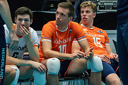 11-08-2019 NED: FIVB Tokyo Volleyball Qualification 2019 / Netherlands - USA, Rotterdam<br /> Final match pool B in hall Ahoy between Netherlands vs. United States (1-3) and Olympic ticket  for USA / Just Dronkers #6 of Netherlands, Sjoerd Hoogendoorn #10 of Netherlands, Gijs van Solkema #15 of Netherlands